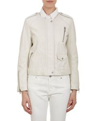 Nili Lotan Leather Collarless Moto Jacket - Lyst