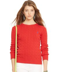 Polo Ralph Lauren Cabled Crewneck Sweater - Lyst