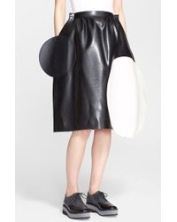 Junya Watanabe Dot Applique Faux Leather Enamel Skirt black - Lyst