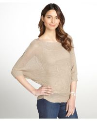 Autumn Cashmere Tan Loose Knit Cotton Boatneck Dolman Sleeve Sweater - Lyst