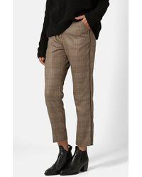 Topshop Check Cigarette Trousers - Lyst