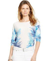 Lauren by Ralph Lauren Petite Tropical-Print Sweater - Lyst