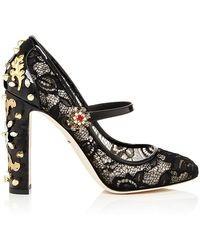 Dolce & Gabbana Decollete Pizzo Ankle Strap Pumps - Lyst