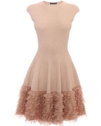 Alexander McQueen Tonal Lace Knit Ruffle Dress - Lyst