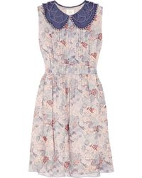 Anna Sui Embellished Printed Silk-chiffon Dress - Lyst