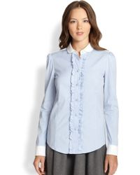 RED Valentino Striped Rufflefront Blouse - Lyst