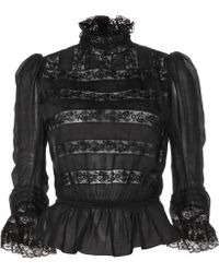 Marc Jacobs Lace-panelled Cotton and Silkblend Top - Lyst