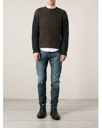 Diesel Cable Knit Sweater - Lyst