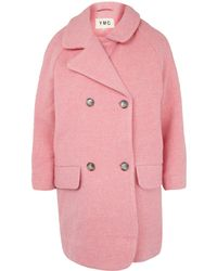 YMC Pink Candy Double Breasted Wool-Blend Coat - Lyst