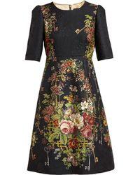 Dolce & Gabbana Brocade Floral Dress - Lyst