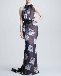 Carolina Herrera Dahlia Devore Silk Gown - Lyst