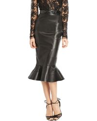 Oscar de la Renta Banded Leather Fluted Skirt - Lyst