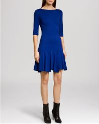 Halston Heritage Dress Boat Neck Elbow Sleeve Flounce Skirt - Lyst