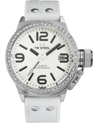 Tw Steel Unisex Canteen White Leather Strap Watch 45mm Tw35 - Lyst