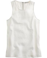J.Crew Petite Embellished Linen Tank Top - Lyst
