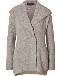 Ralph Lauren Collection Silkcashmere Tweed Hoodie Cardigan - Lyst