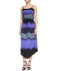 Halston Heritage Sleeveless Printed Maxi Dress - Lyst