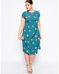 Asos Curve Exclusive Waterfall Dress In Bird Print - Lyst
