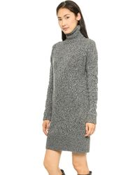 McQ by Alexander McQueen Oversized Lambs Wool High Neck Dress Light Grey Dark Grey - Lyst