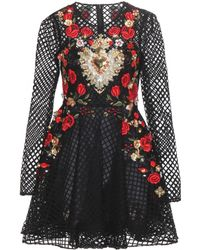 Dolce & Gabbana Embellished Cotton-Blend Mini Dress - Lyst