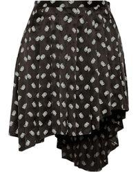 Balmain Printed Silk Satin Mini Skirt - Lyst