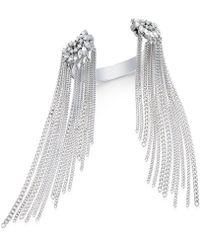 Danielle Nicole - Silver-tone Crystal Fringed Cuff Bracelet - Lyst