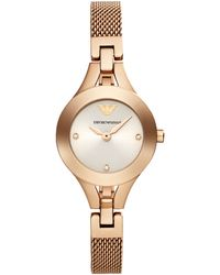 Emporio Armani Ladies Rose Gold Tone Mesh Strap Watch - Lyst
