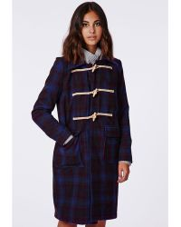 Missguided Robin Hooded Duffle Coat Blue - Lyst