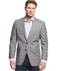 Calvin Klein Grey Windowpane Slim-Fit Sport Coat gray - Lyst