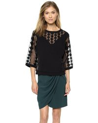 Catherine Malandrino Gabby Drop Shoulder Sweatshirt Noir - Lyst