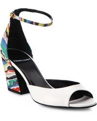 Pierre Hardy   Leather & Suede Rainbow Block-heel Sandals   Lyst