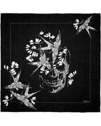 Alexander McQueen Swallow Skull Silk Chiffon Scarf - Lyst