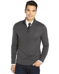 Elie Tahari Grey Cashmere Knit Half Zip Neck Marcus Sweater - Lyst