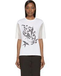 Alexander McQueen White Organza Sleeve Swallow Shirt - Lyst