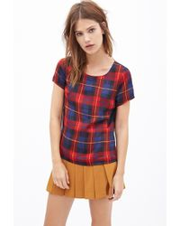 Forever 21 Sateen Plaid Blouse - Lyst
