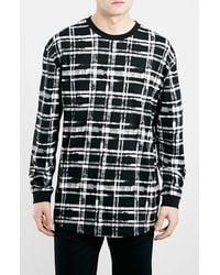 Topman Oversize Long Sleeve Check Print T-Shirt - Lyst