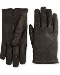 Gucci Micro Gg Napa Leather Gloves - Lyst