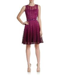 Chetta B Flared Ombré Lace Dress - Lyst