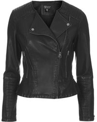 Topshop Faux Leather Peplum Biker Jacket - Lyst
