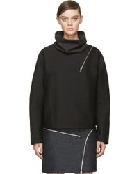 Jay Ahr Black Wraparound Zip Turtleneck - Lyst