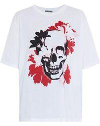 Alexander McQueen Bloom Skull-Print Cotton T-Shirt - Lyst