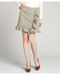 RED Valentino Beige Tweed Ruffle Accent Short Skirt - Lyst