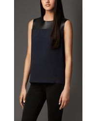 Burberry Lambskin Detail Silk Cady Top - Lyst