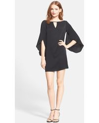 Milly Cutout Butterfly Sleeve Stretch Silk Crepe Dress - Lyst