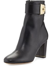 Ferragamo Nicy Lock Leather Ankle Boot - Lyst