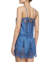 Miguelina Cicley Floral Crochet Romper Coverup blue - Lyst