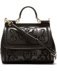Dolce & Gabbana Black Floral Embroidered Miss Sicily Bag - Lyst