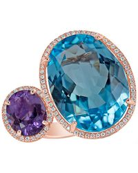 Marco Moore | Topaz, Amethyst, Diamond And 14k Rose Gold Ring | Lyst