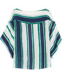 Chloé Striped Silk Top - Lyst