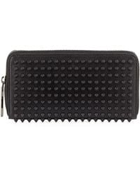 Christian Louboutin Panettone Spiked Zip Wallet Black - Lyst
